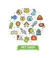pet shop signs round design template thin line vector image
