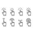 pointer hand click icon set website clicking vector image