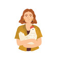 portrait young woman holding cute hen in her vector image vector image