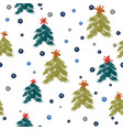 seamless pattern with hand drawn blue snowflakes vector image vector image