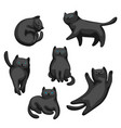 set cartoon black cats vector image