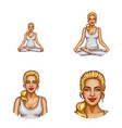 set of female avatars in pop art style vector image