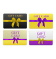 set of gift cards with realistic bow vector image vector image