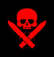 skull and knife symbol army sign vector image vector image
