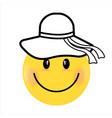 smiling face yellow girl happy smiley emoji vector image vector image