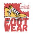 sneaker footwear poster label sign design artistic vector image vector image
