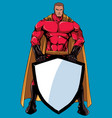 superhero holding shield no mask vector image vector image