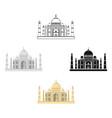 taj mahal icon in cartoonblack style isolated on vector image