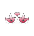 tattoo birds and heart on white background vector image vector image