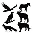 wild animals on black silhouette vector image