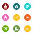 winter evening icons set flat style vector image