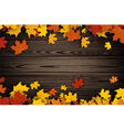 Wooden texture background with maple leaves vector image