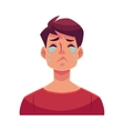 Young man face crying facial expression vector image vector image