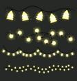 set of christmas lamps garlands warm light vector image
