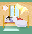 a girl sleeping on a bed near window in which vector image