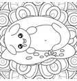 adult coloring bookpage a sleeping kawaii cat on vector image vector image