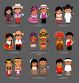 americans and asians in national dress vector image vector image