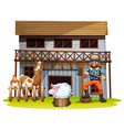 Animals and lumberjack vector image vector image
