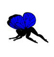 blue silhouettes of cute girly fairies with vector image