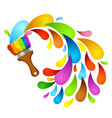brush with color paint vector image vector image