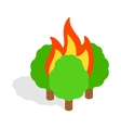 Burning trees icon isometric 3d style vector image vector image