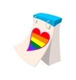 Calendar with rainbow heart cartoon icon vector image vector image
