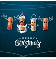 Christmas character Santa Claus snowman reindeer vector image vector image