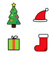 christmas icons in flat style icons spruce gift vector image vector image