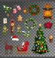 christmas new year holiday objects vector image vector image