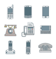 colored outline various phone devices icons set vector image vector image