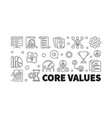 core values horizontal outline banner vector image vector image