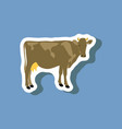 cow paper sticker on stylish background vector image vector image