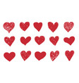 doodle hearts hand drawn red symbols isolated vector image vector image
