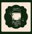 emblem happy saint patricks day with cauldron in vector image