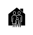 family comfort black icon sign on isolated vector image