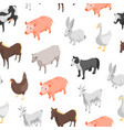 farm animals 3d seamless pattern background vector image