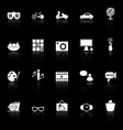 Favorite and like icons with reflect on black vector image vector image