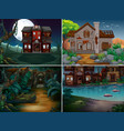 four scenes with haunted houses in forest vector image vector image