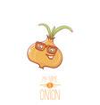 funny cartoon cute tiny onion character vector image