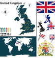 Great Britan map world vector image vector image