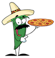 Green Pepper Character Holding A Pizza vector image