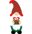happy christmas gnome with christmas gift on white vector image vector image