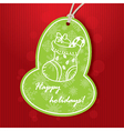holiday greeting with green tag vector image