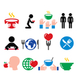 Hunger starvation poverty icons set vector image vector image