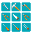 icon set of tools saw hammer screwdriver vector image vector image