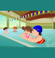 kids having a swimming lesson in indoor pool vector image
