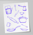 kitchen utensils drawn on a sheet of paper doodle vector image