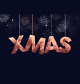 merry christmas low poly copper sign greeting card vector image vector image