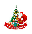 merry christmas santa and tree icon vector image vector image