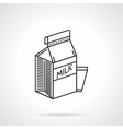 Milk carton black line icon vector image vector image